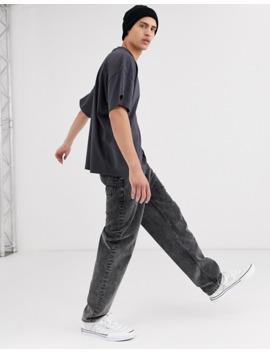 Asos Design – Übergroßes T Shirt Mit Rundhalsausschnitt In Verwaschenem Schwarz by Asos
