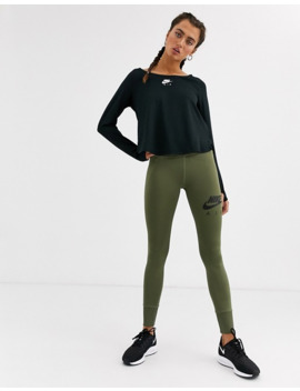 Nike Air Running Crop Leggings In Khaki by Nike