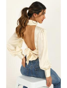 Carry Your Love Top In Cream Satin by Showpo Fashion