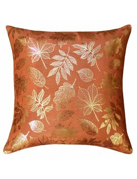 "Autumn Foliage Foiled Throw Pillow, 18"" X 18"", Orange/Gold Autumn Foliage Foiled Throw Pillow, 18"" X 18"", Orange/Gold by At Home"