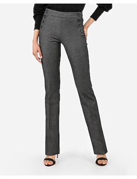 Mid Rise Side Button Barely Boot Columnist Pant by Express