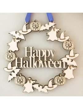 Happy Halloween Door Wreath, Halloween Decoration, Halloween Door Hanger, Halloween Party, Halloween Wreath by Etsy