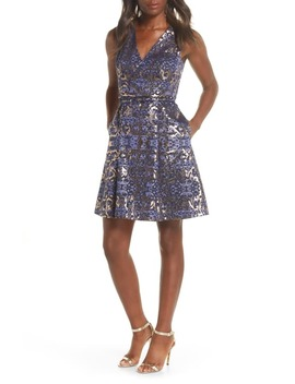 Metallic Jacquard Sleeveless Fit & Flare Dress by Vince Camuto