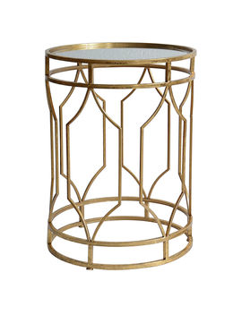 "Gold Metal Table With Glass Top, Small (22.8"")Gold Metal Table With Glass Top, Small (22.8"") by At Home"
