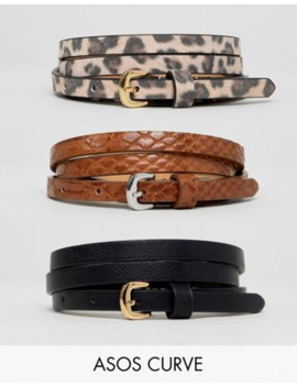 Asos Design Curve 3 Pack Waist And Hip Jeans Belts In Snake &Amp; Leopard by Asos Design