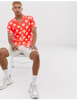 Asos Design Festival Short Sleeve Relaxed Shirt In Coral With Daisy Print by Asos Design