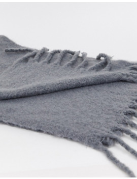 My Accessories London Exclusive Slate Gray Super Soft Scarf With Tassels by My Accessories