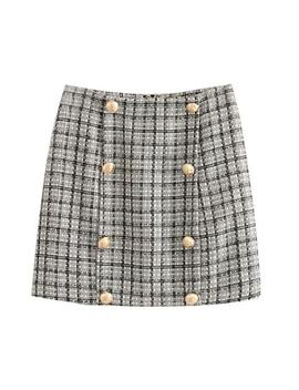 'gemanie' Tweed Buttoned Mini Skirt by Goodnight Macaroon