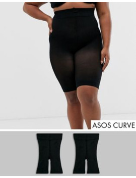 Asos Design Curve Anti Chafing Shorts 2 Pack In Black by Asos Design