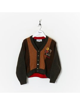 The Hunter' Knitted Cardigan Brown Small by True Vintage Clothing