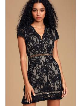 To The Moon And Back Black Lace Short Sleeve Mini Dress by Lulus