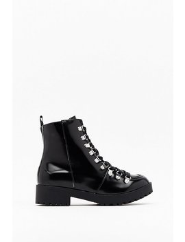 You'll Never Walk Alone Faux Leather Biker Boots by Nasty Gal