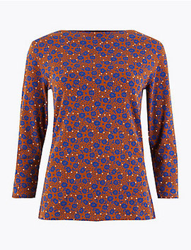 Floral Print 3/4 Sleeve Fitted T Shirt by Marks & Spencer