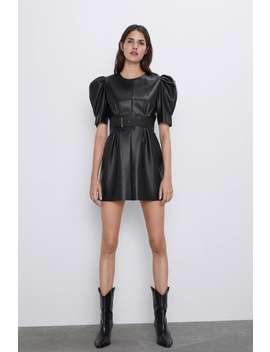 Leather Look Dress by Zara