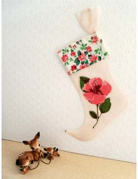 Vintage Pink Organdy Rose Christmas Stocking by Etsy