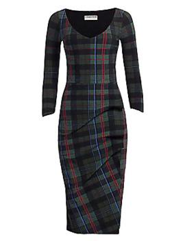 Rannah Plaid V Neck Dress by Chiara Boni La Petite Robe