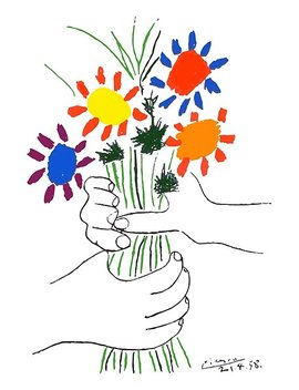 Pablo Picasso Bouquet Of Peace 1958 (Flowers Bouquet With Hands) Or Le Bouquet De L'amitié (Friendship) Poster by Art O Rama Shop