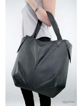 Metric Raven Minimalist Big Black Hobo Tote Bag by Etsy
