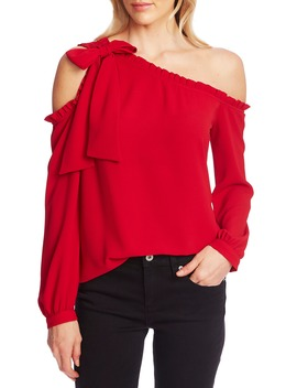 One Shoulder Long Sleeve Blouse by Cece