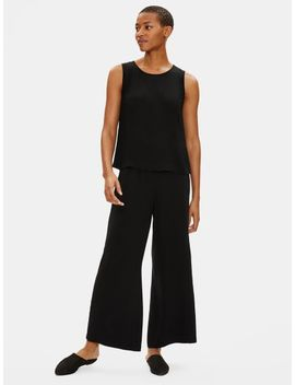 Silk Georgette Crepe Wide Leg Ankle Pant by Eileen Fisher