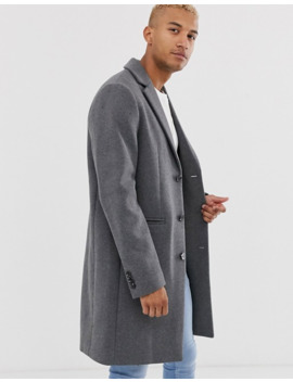 Asos Design Tall Wool Mix Overcoat In Light Grey by Asos Design