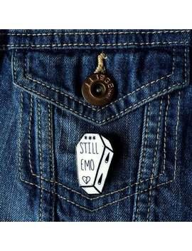 "Original Handmade ""Still Emo"" Coffin 3.5cm Acrylic Plastic Lapel Pin by Etsy"