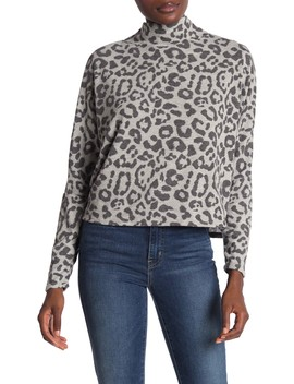 Mock Neck Dolman Sleeve Print T Shirt by Abound
