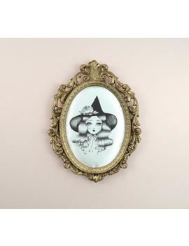 Witch Art, Witchy, Wiccan , Halloween , 'little Witch'   Framed Vintage Silk Print, Lowbrow Art by Etsy