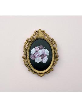 Rosebud Babies   Miniture Framed Vintage Silk Print, Vintage Art, Alice In Wonderland, Flower Faces by Etsy