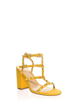 Fancy You Studded Caged Block Heels by Go Jane