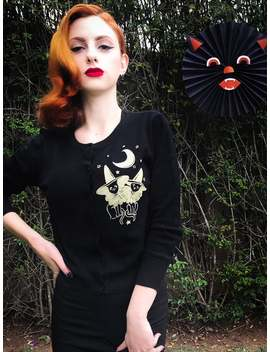 Cats Under The Moon Cardigan Size S,M,L,Xl,2 Xl,3 Xl In Black / Vintage Inspired Sweater By Mischief Made by Etsy