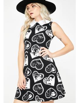 Bat Collared Boo Heart Print Dress by Too Fast