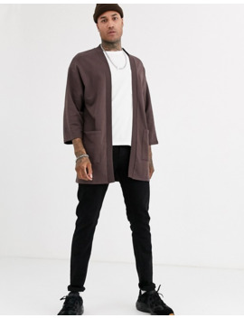 Asos Design Jersey Kimono Cardigan In Dark Brown by Asos Design