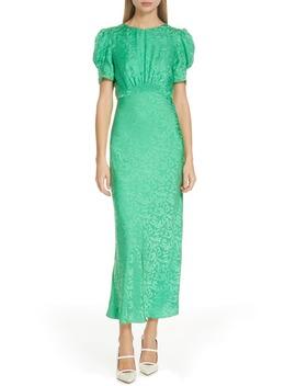 Bianca Puff Sleeve Silk Midi Dress by Saloni