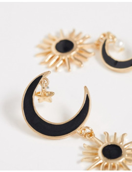 Asos Design Earrings With Moon And Sun Drop In Gold Tone by Asos Design