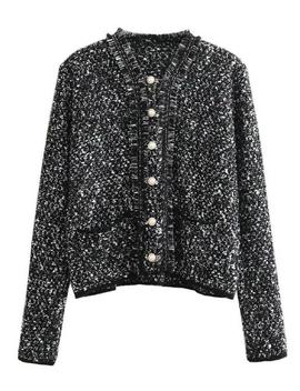 'melissa' Pearl Buttons Tweed Jacket by Goodnight Macaroon