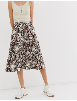 Soaked In Luxury Tiger Print Skirt by Asos