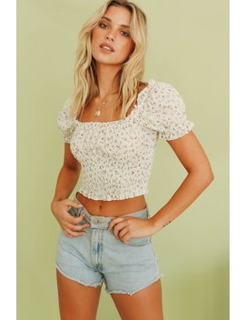 Stay Forever Shirred Top // Floral by Vergegirl