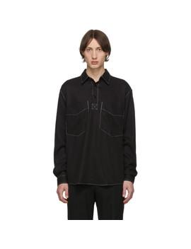 Black Boxy Popover Shirt by Schnayderman's