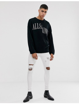 All Saints Oversized Split Logo Sweater In Black by All Saints