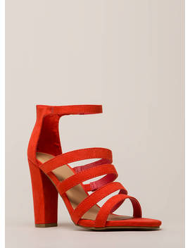 Five Stars Strappy Faux Suede Heels by Go Jane