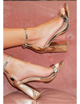 Jaide Gold Patent Block Heels by Missy Empire