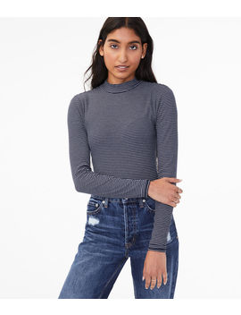 Long Sleeve Seriously Soft Striped Mock Neck Tee by Aeropostale