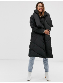 Mango Longline Padded Jacket In Black by Mango