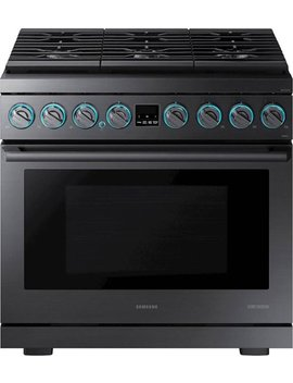 Chef Collection 5.9 Cu. Ft. Freestanding Gas Convection Range   Fingerprint Resistant Matte Black Stainless Steel by Samsung
