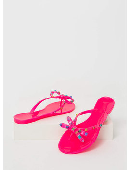 Bow Jane Studded Jelly Thong Sandals by Go Jane