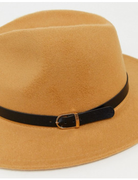 My Accessories London Exclusive Camel Fedora With Buckle Detail by My Accessories