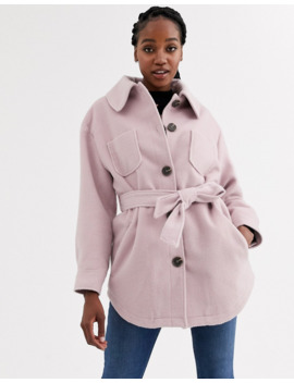 Asos Design Brushed Jacket In Pink by Asos Design
