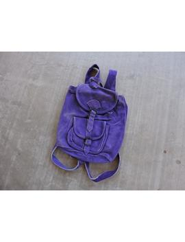 Beat To Hell Rare Vintage Purple Suede Backpack by Etsy