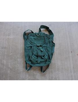 Beat To Hell Rare Vintage Teal Suede Backpack by Etsy